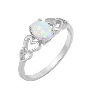 Jewelry - Sterling Silver Oval Opal White Gemstone Ring